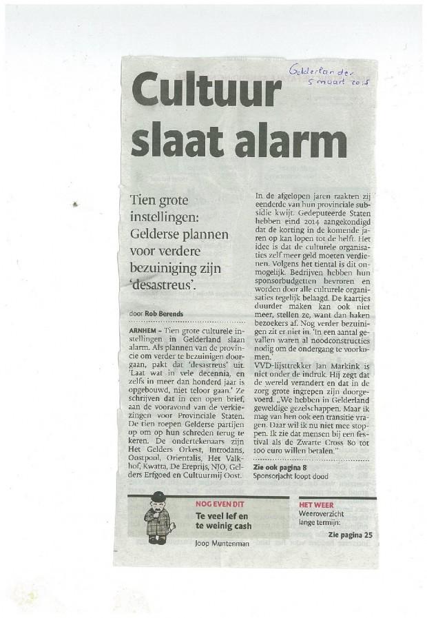 Cultuur slaat alarm Gelderlander 05032015