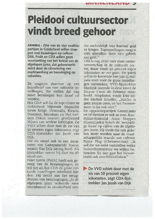 Gelderlander Pleidooi cultuursector vindt breed gehoor 63205