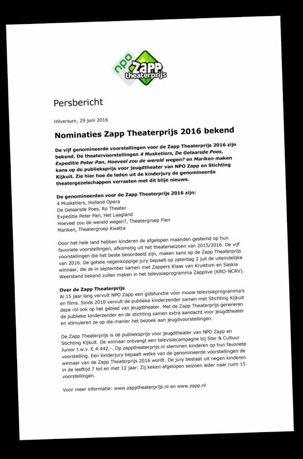 persbericht nominaties zapp theaterprijs